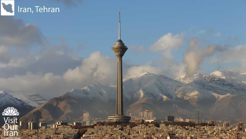 Milad tower hovering over Tehran
