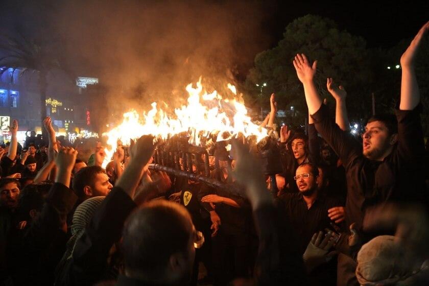 torches and flames in Ashura iran Muharram